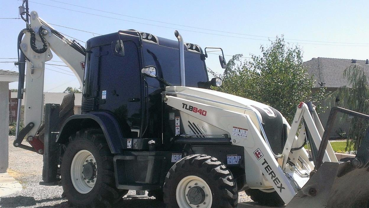 2014 Terex TLB 840 Offset Backhoe with Attachments and Custom Buckets