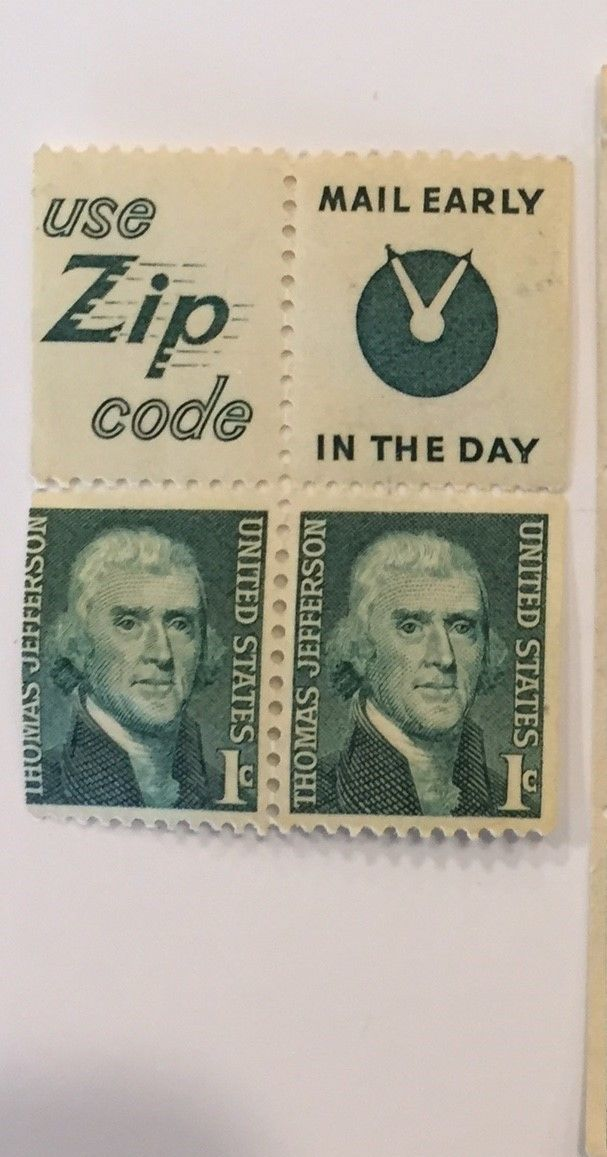 PANEL OF MINT NH 1 CENT THOMAS JEFFERSON STAMPS