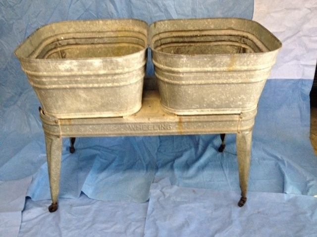 Vintage Galvanized Wash tubs (2) with stand