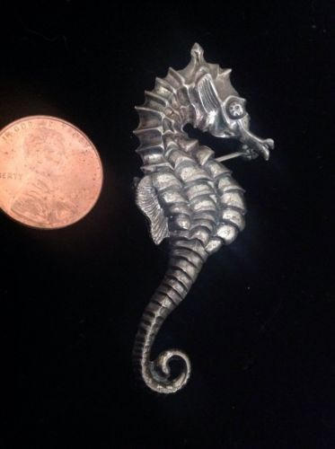 Vintage Beau Sterling Silver 1940's Nautical Seahorse Pin/Brooch Signed