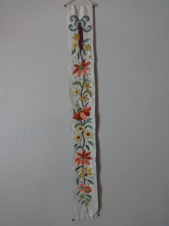 Vintage Finished Cross Stiched Flowers Embroideries Wall Hanging Banner