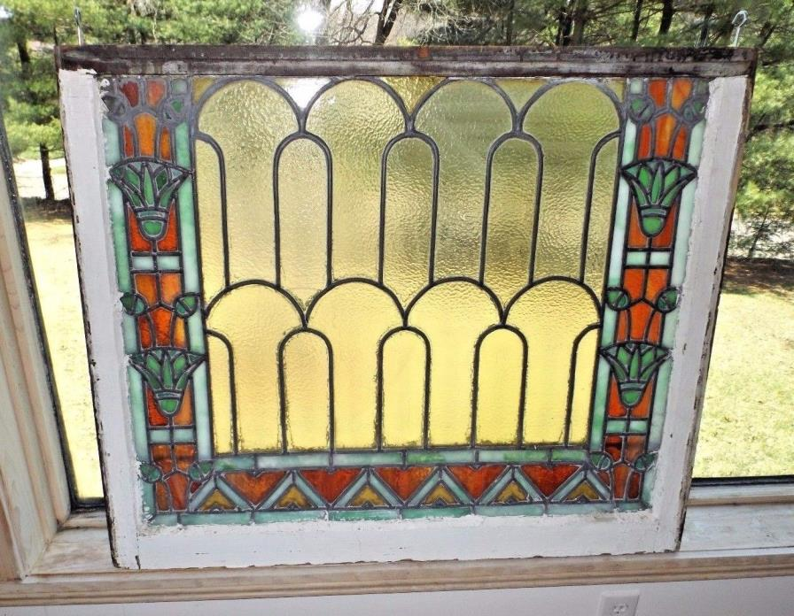 Antique 1900's Arts & Crafts Craftsman Art Nouveau Style Stained Glass Window