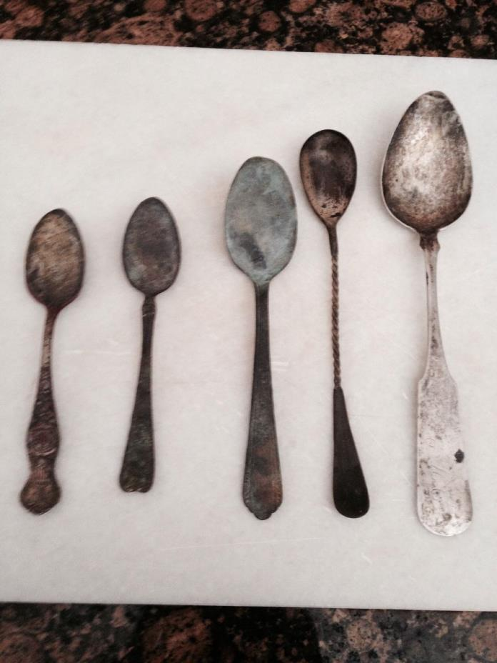 Vintage spoons  Lot of 5. All are different . One marked silver plate.  I initia