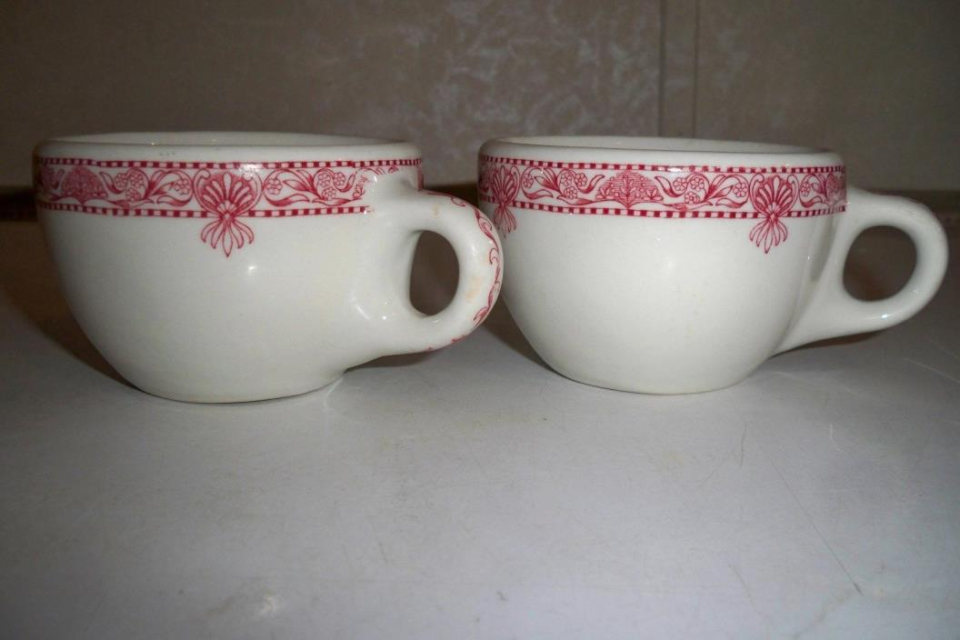 (2) RED EDWARD DON & COMPANY CHICAGO ILLINOIS RESTAURANT WARE CUP's