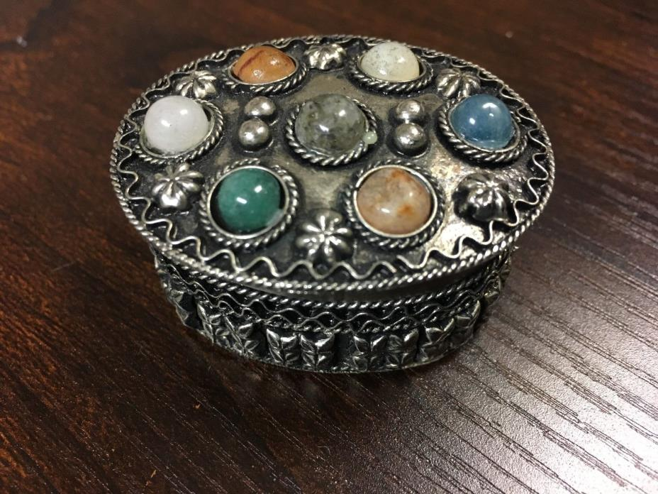 Vintage Metal and Stone Pill Box