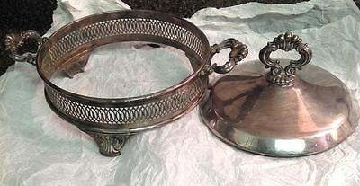 VTG Silver Copper Plated Footed Serve Stand Marked #258 /Matching Cover Design