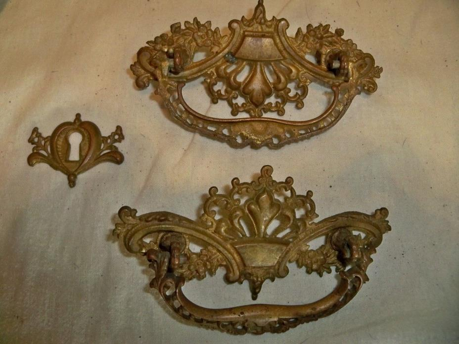 LOT OF 2 VICTORIAN / EASTLAKE DRAWER PULLS / FINE VINTAGE CONDITION
