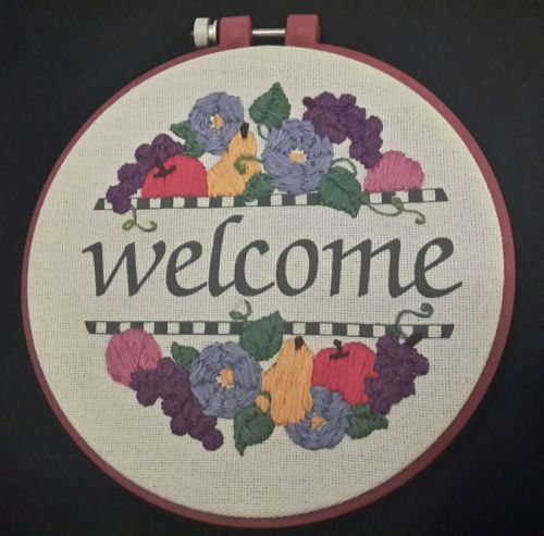 Welcome Floral Embroidery Finished Framed Wall Decor Multi Color 6