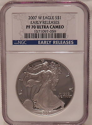 2007 W PROOF AMERICAN SILVER EAGLE NGC PF70 ULTRA CAMEO EARLY RELEASES