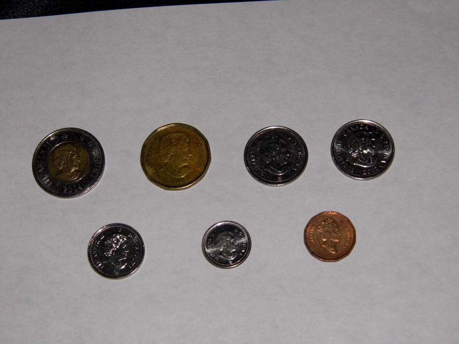 7 CANADA Coins Lot (2 & 1 Dollars, 2-25 cents, 10 cents, 5, 1 cents) CHECK OUT!