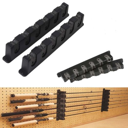 Horizontal Rod Rack 6 Fishing Holder Storage Pole Gear Stand Wall Paper Boat Rod
