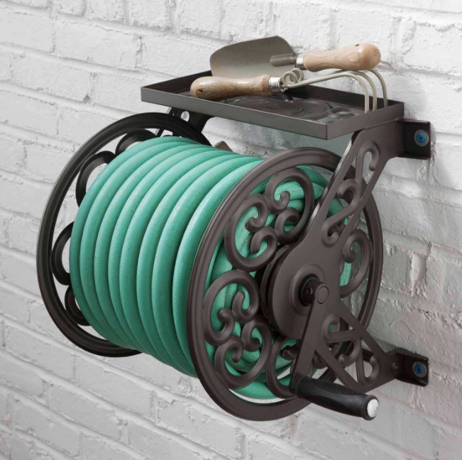 Wall Mount Water Hose Reel Sprinkler Decorative Garden Outdoor Shelf Holder New