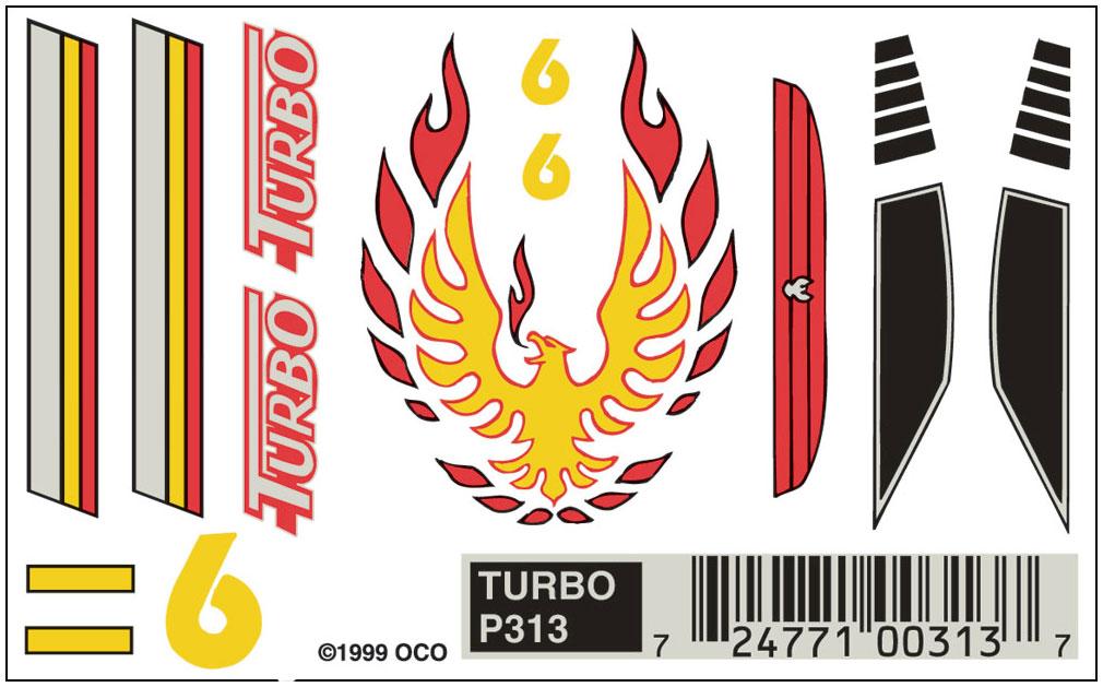 Pinecar P313 Dry transfers, Turbo