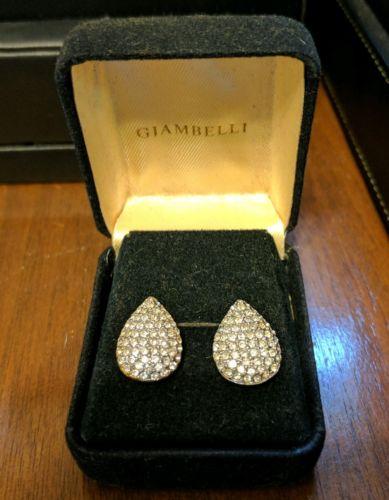 BEAUTIFUL GIAMBELLI GOLD CZ CUBIC ZIRCONIA TEAR DROP POST EARRINGS