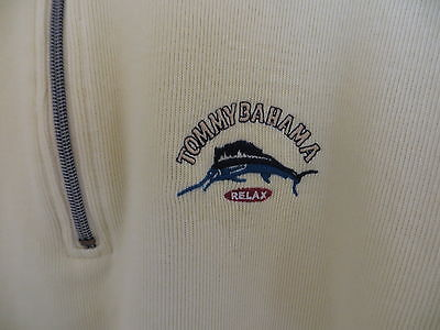 TOMMY BAHAMA Mens 1/4 Zip Sweater YELLOW Cotton Collared USED Good Cond Sz 2XL