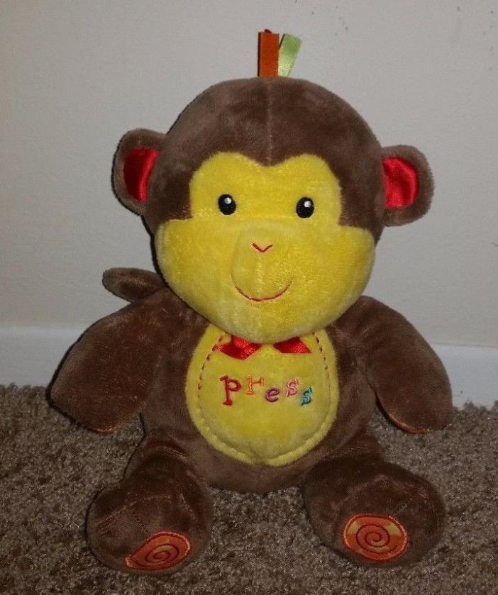 Prestige Baby Monkey RARE ABC Musical Toy Plush Brown