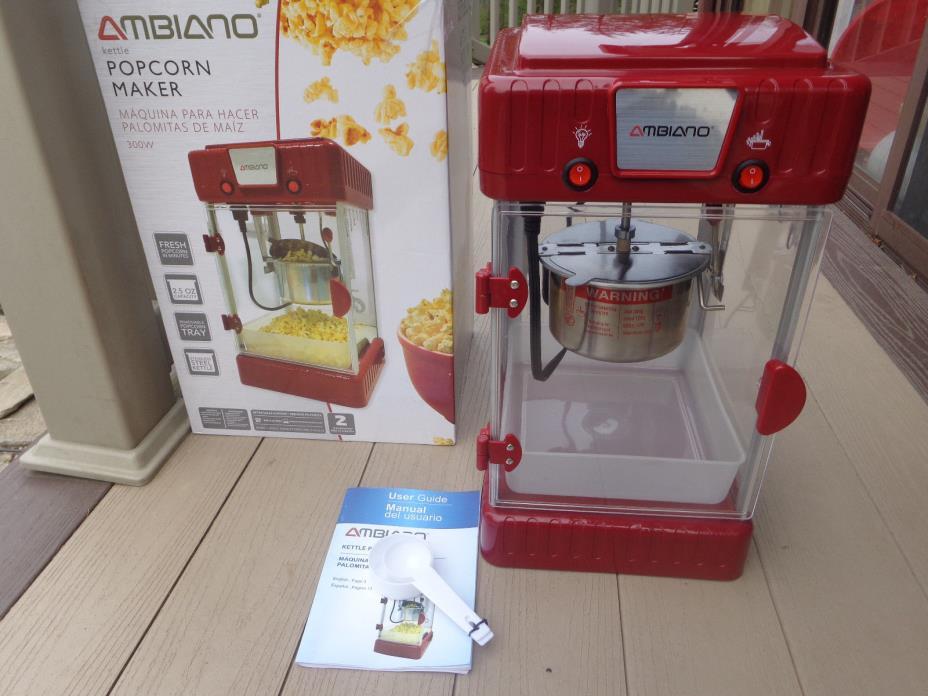 2.5 oz Red Kettle Popcorn Maker Machine by Ambiano 300 watt Popper used 1x