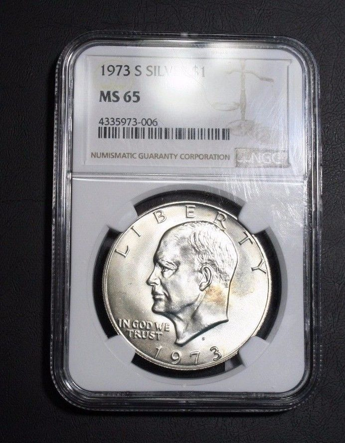 1973 S SILVER Eisenhower Dollar NGC MS65