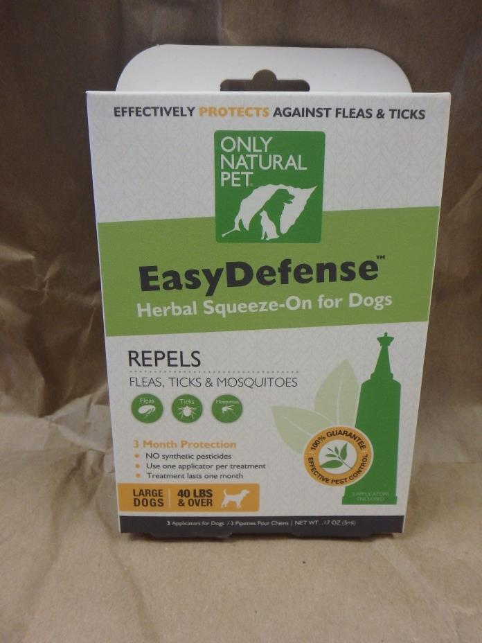 ONLY NATURAL PET EASY DEFENSE HERBAL SQUEEZE ON FOR DOGS REPELS FLEAS & MORE