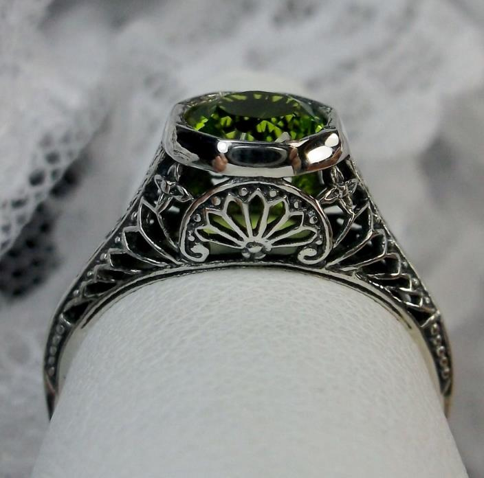 *Peridot/Green* Solid Sterling Silver Edwardian Wedding Filigree Ring Size: 6