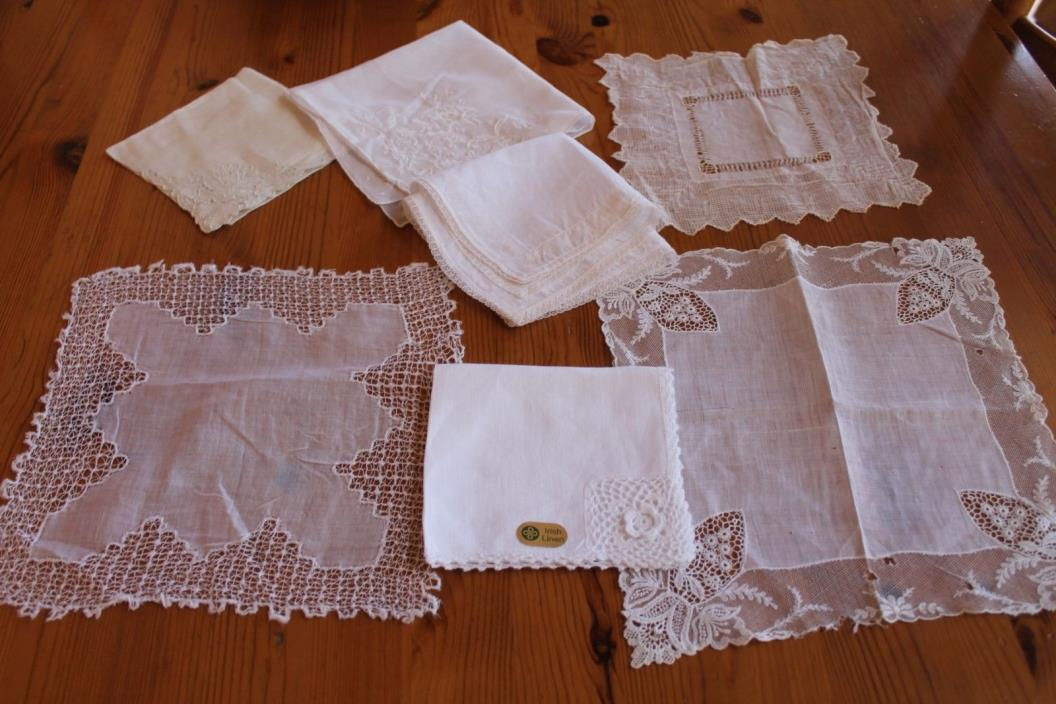 7 VINTAGE WHITE HANDKERCHIEFS / HANKIES /