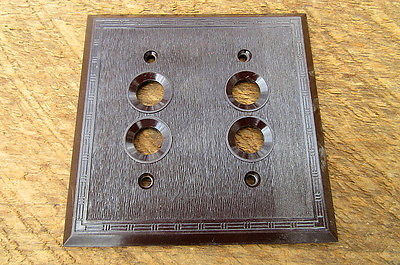 Vintage Brown Bakelite Push Button Switch Cover