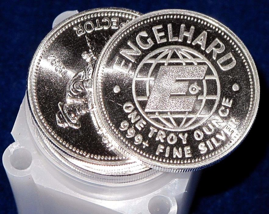 ORIGINAL 25pc BU ROLL OF 1984 ENGELHARD 1oz .999 SILVER PROSPECTORS - BIG E BULL
