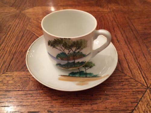 Cute Elegant Occupied Hand Painted Japan Cup & Saucer - Vintage