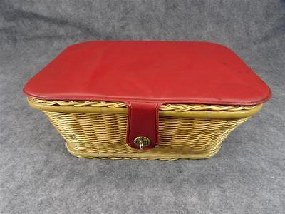 Wicker sewing Basket 15 x 12 With Sunday Sewing Items
