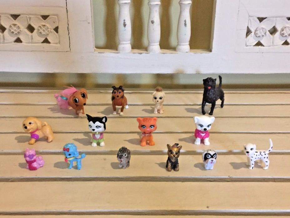 Lot of 14 Dogs Puppies Cats Kittens PVC Plastic Figures