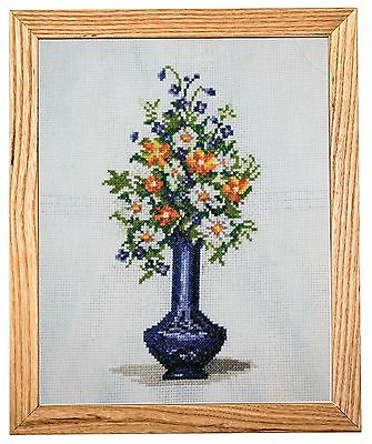 handmade cross stitch flowers vase embroidery needlework craft gift home decor
