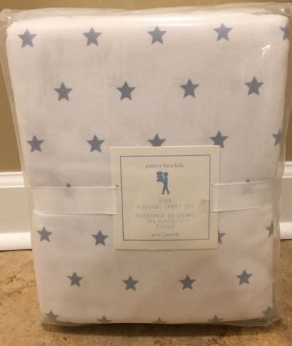 NEW Pottery Barn Kids Star Flannel QUEEN Sheet Set SLATE BLUE
