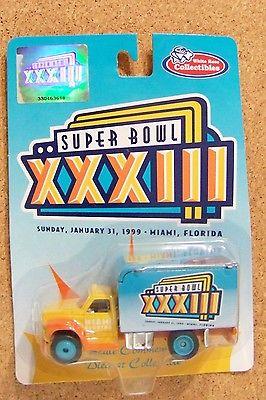 1999 SB Super Bowl 33 XXXIII logo panel truck van Denver Broncos Atlanta Falcons