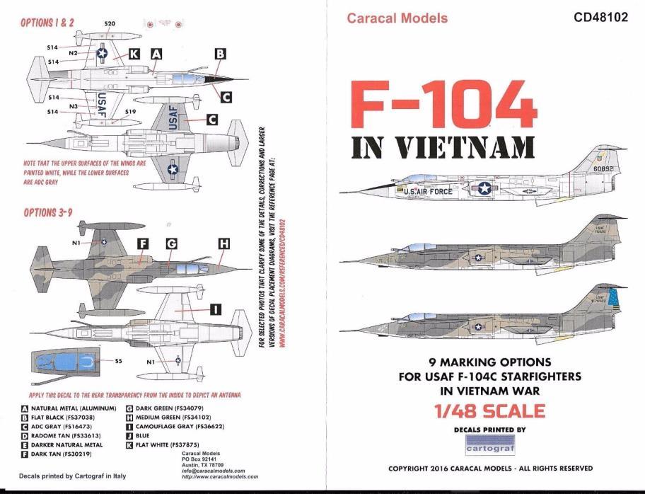 Caracal USAF F-104C Starfighter in Vietnam Decals 1/48 102 DO