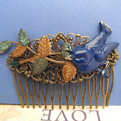 BLUE BIRD HAIR COMB DECORATIVE COMBS METAL VINTAGE WEDDING HAIR ACCESSORIES