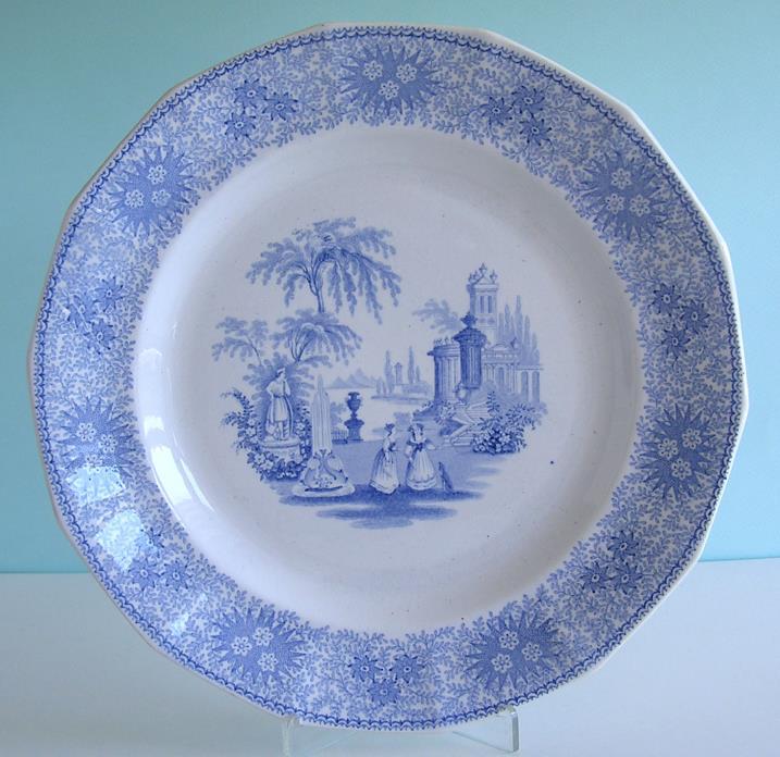 Wm Adams Staffordshire ~ ISOLA BELLE ~ Ironstone Blue Transferware Plate c1840