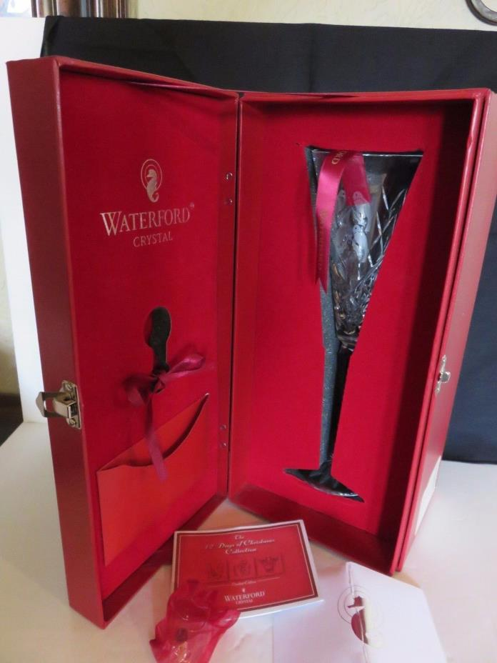 LE 4th Ed Waterford Crystal Champagne Flute 12 Days Christmas Calling Birds