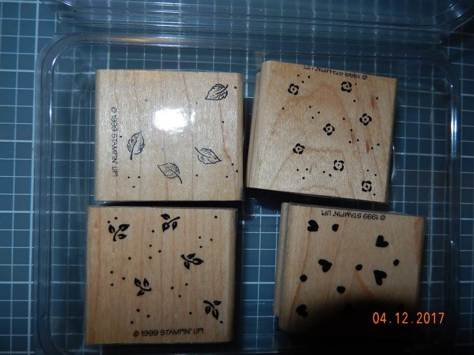 Stampin Up Petite Patterns 4 background rubber stamps leaves, hearts