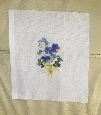 handmade cross stitch flowers violet embroidery needlework craft gift home decor