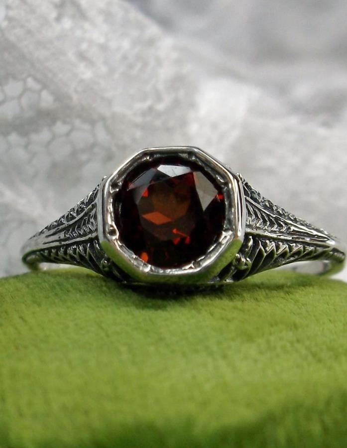 1ct Natural Red Garnet Sterling Silver Edwardian Wedding Filigree Ring Size 8