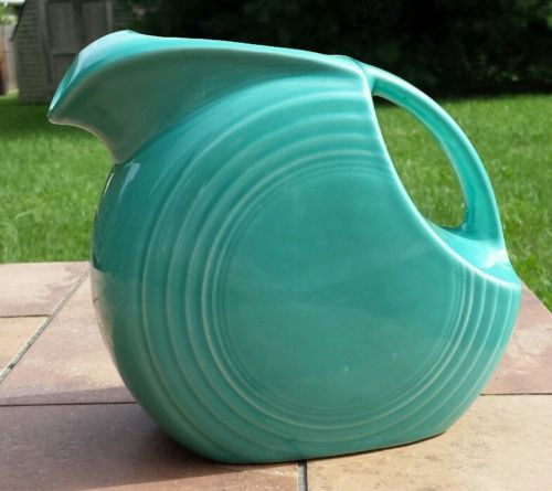 Vintage Large Fiesta Turquoise Disc Pitcher  MARKED Fiesta U.S.A