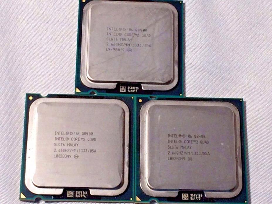 Lot of 3 Intel Core 2 Quad CPU Q8400 2.66GHz/4M/1333 LGA775 SLGT6