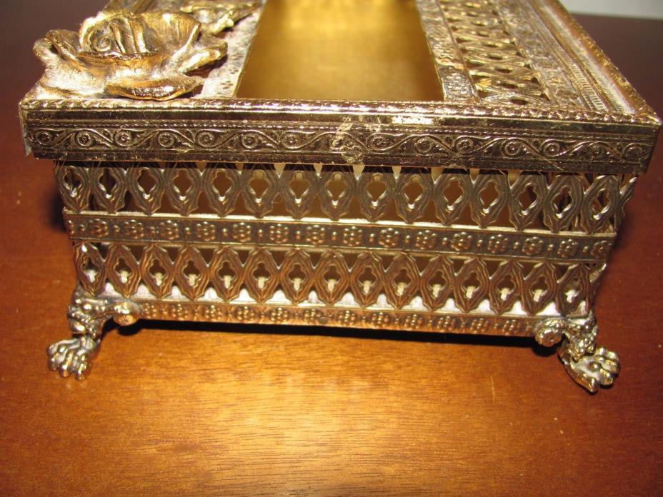 VINTAGE BRASS TISSUE BOX HOLDER ORNATE FILIGREE HOLLYWOOD REGENCY