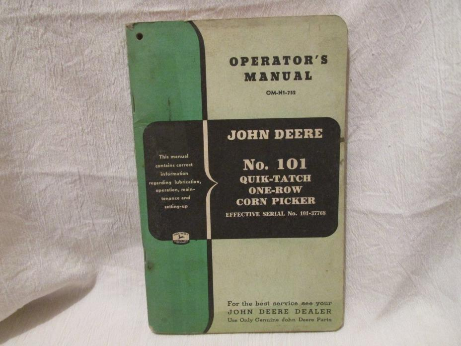 Vintage John Deere Operator's Manual No. 101 One-Row Corn Picker