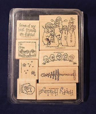 Stampin Up Retired 2002 Flaky Friends Set of 8 Mounted Ink Rubber Stamps