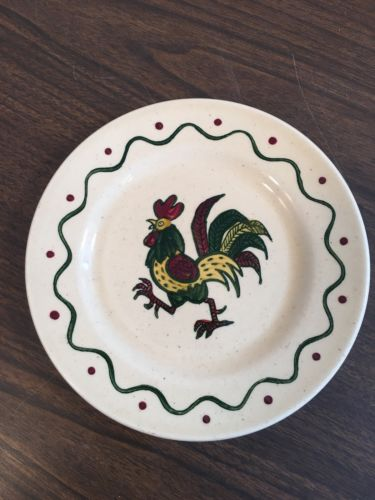 Vintage Metlox Poppytrail Painted Red Rooster Bread Plate California 7 1/2 Inch