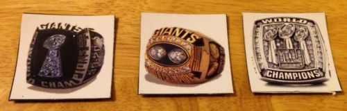 New York Giants Super Bowl rings picture magnets 2x2 inches