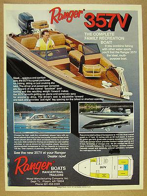 1986 Ranger 357V Boat bass boat color photo vintage print Ad