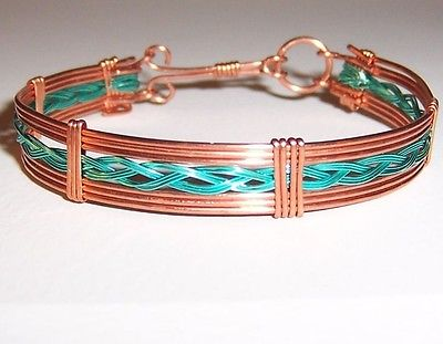Copper Wire and Turquoise Colored Braided Wire Strip Cuff Bracelet