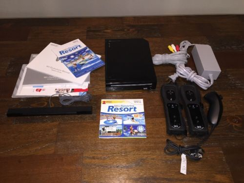 Nintendo With Wii Sports + Wii Sports Resort Black Console Ready to Play